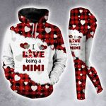 I Love Being A Mimi Leopard Red Buffalo Hoodie Set
