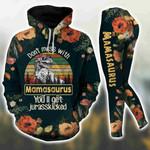 Don't Mess With Mama Saurus Vintage Black Hoodie Set
