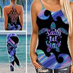 Salty Lil' Beach Black Criss-cross Tanktop and Legging set