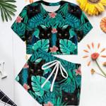Cat Tropical Crop Tee Cami Top And Drop Shoulder Crop Shorts