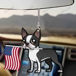 Bostie Dog With Flag Car Hanging Ornament-2D Effect