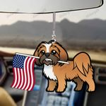 Lhasa Apso Dog With Flag Car Hanging Ornament-2D Effect
