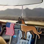 Belgian Malinois Dog With Flag Car Hanging Ornament-2D Effect