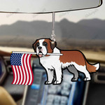 Saint Bernard Dog With Flag Car Hanging Ornament-2D Effect