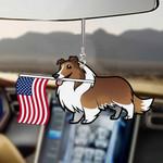 Shetland Sheepdog Dog With Flag Car Hanging Ornament-2D Effect