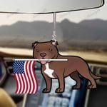 Staffordshire Bull Terrier Dog With Flag Car Hanging Ornament-2D Effect