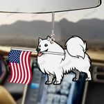 Samoyed Dog With Flag Car Hanging Ornament-2D Effect