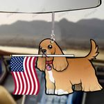 Cocker Spaniel Dog With Flag Car Hanging Ornament-2D Effect