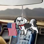 Shih Tzu Dog With Flag Car Hanging Ornament-2D Effect