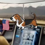 Basset Hound Dog With Flag Car Hanging Ornament-2D Effect