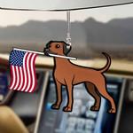 Rhodesian Ridgeback Dog With Flag Car Hanging Ornament-2D Effect