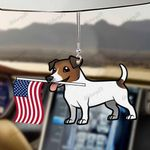 Jack Russell Terrier Dog With Flag Car Hanging Ornament-2D Effect