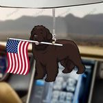 Newfoundland Dog With Flag Car Hanging Ornament-2D Effect