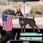 Doberman Pinscher Dog With Flag Car Hanging Ornament-2D Effect