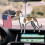 Greyhound Dog With Flag Car Hanging Ornament-2D Effect