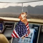 Golden Retriver Dog With Flag Car Hanging Ornament-2D Effect
