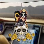 Yellow Rose Skull Car Hanging Ornament-2D Effect