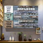 To My Daughter, Life Gave Me The Gift Of You With Love And Kisses, Dad Horizontal Poster