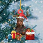 Doberman Pinscher Christmas Lights Shape Ornament / DVHPQH081220