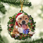 Staffordshire Bull Terrier and Christmas gift for her gift for him gift for Staffordshire Bull Terrier lover ornament