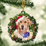 Golden Retriever and Christmas gift for her gift for him gift for Golden Retriever lover ornament