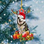 Alaskan Malamute Christmas Lights Shape Ornament