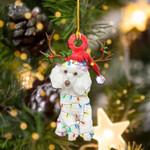 White Poodles Christmas Lights Shape Ornament / DVHPQH111220