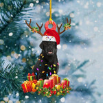 Black Labrador Christmas Lights Shape Ornament