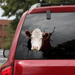 [DT0328-snf-tnt] Hereford cattle Crack car Sticker cows Lover