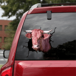 [DT0320-snf-tnt] Danish Red cattle Crack car Sticker cows Lover