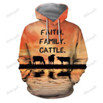 Faith. Family. Cattle Cow Hoodie