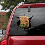 [sk1119-snf-ptd] Highland cow crack car Sticker Cattle lover