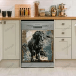 Friesian Horse Dark Decor Kitchen Dishwasher Cover