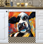Cute Farmhouse Cow on a Colorful Background