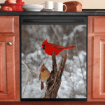Cardinal And Pine Tree Decor Kitchen Dishwasher Cover