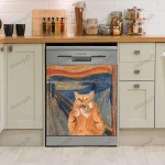 The Scream Ginger Cat Funny Dishwasher Cover, Kitchen Decor