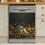 ROOSTER FAMILY DECOR KITCHEN DISHWASHER COVER