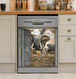 Elephants Behind The Door Decor Kitchen Dishwasher Cover