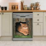 CAT DECOR KITCHEN DISHWASHER COVER 10