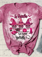 In October We Wear Pink Print Short Sleeve T-shirt