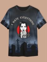 Unisex Halloween I Hate Everything Print Short Sleeve T-shirt