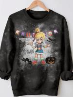 Cartoon Halloween 80S Print Long Sleeve Sweatshirt