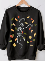 Skeleton Print Long Sleeve Sweatshirt