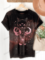 Black Cat Magic Wand Halloween Print Short Sleeve T-shirt