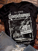 Vintage Welcome To Horrorland Print Short Sleeve T-shirt