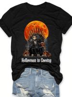 Halloween Is Coming Print Short Sleeve T-shirt