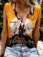 Halloween Print Sleeveless Tank