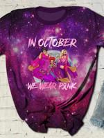 In October We Wear Pink Hocus Pocus Print Short Sleeve T-shirt