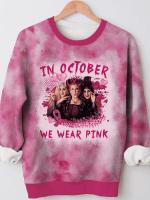 In October We Wear Pink Hocus Pocus Tie Dye Print Long Sleeve Sweatshit
