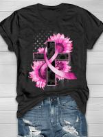 In October We Wear Pink Sunflower Print Short Sleeve T-shirt